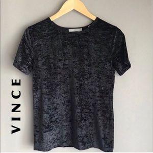 Vince Easy Velvet Shimmery Black Tee L NWT